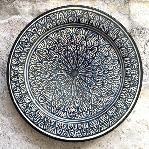 Marokkansk håndlavet keramikfad - Maud, 30 cm i dia.