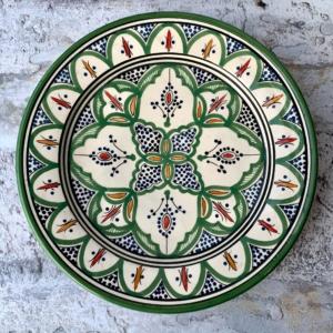 Marokkansk håndlavet keramikfad, 25 cm i dia. - Beate