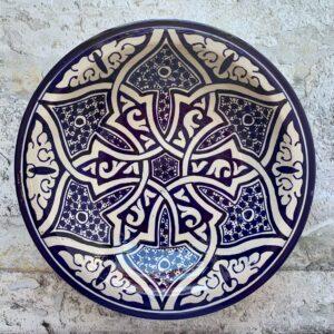 Marokkansk håndlavet keramikfad, 30 cm i dia. – Ejna