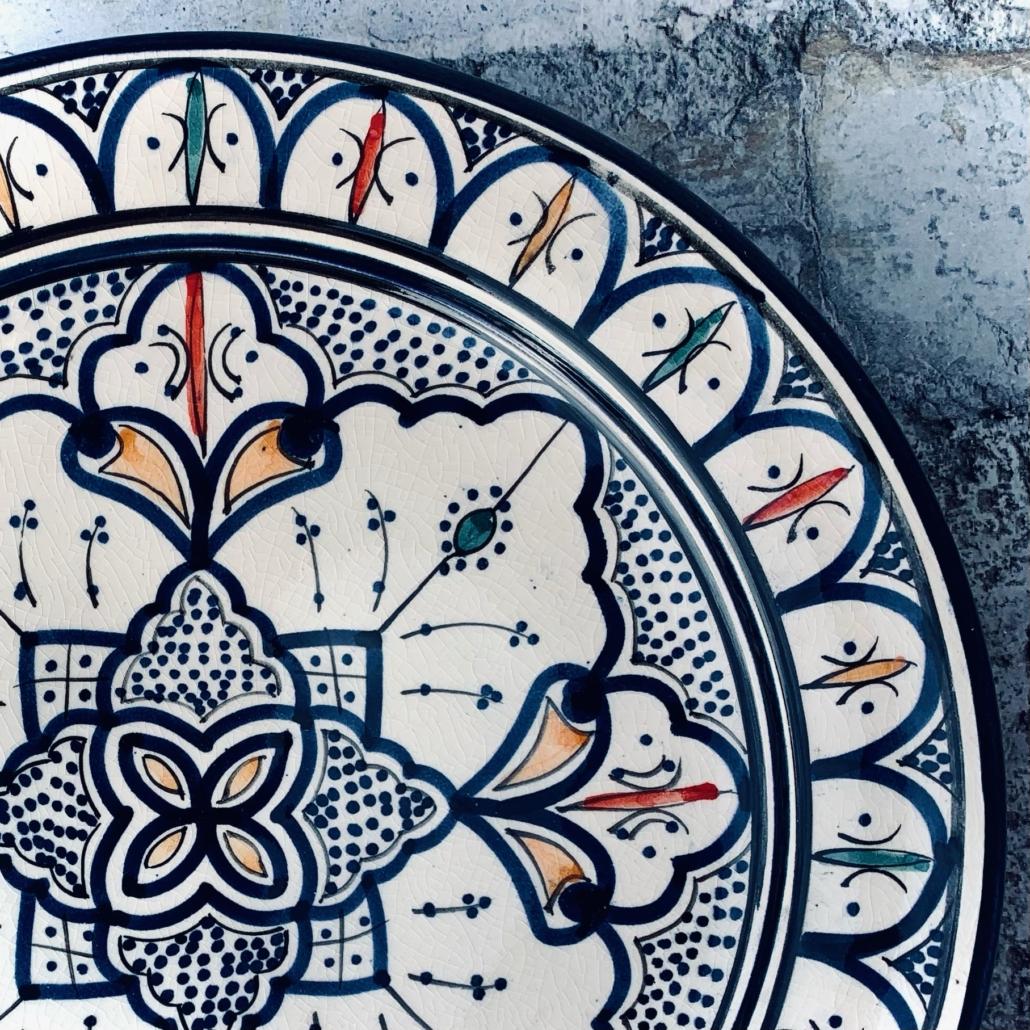 Marokkansk håndlavet keramikfad, 25 cm i dia. - Vilma