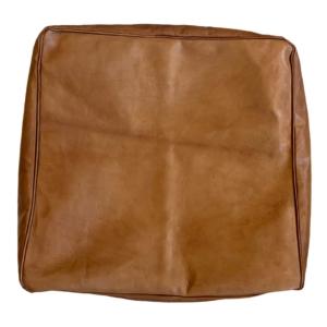 Håndlavet kvadratisk marokkansk læderpuf - Cognac