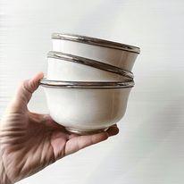 Marokkanske keramikskåle med metalkant, sælges i sæt af 3 stk.