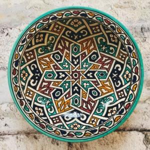 Marokkansk håndlavet keramikfad, 30 cm i dia. - Nina