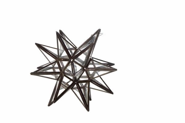 Stjerne lanterne/lampe i klar glas - 25 cm i dia.