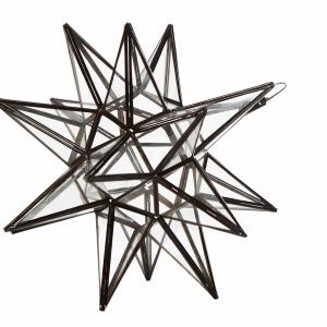 Stjerne lanterne/lampe i klar glas, 45 cm i dia.