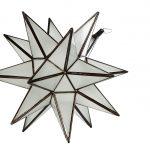 Stjerne lanterne/lampe i mat glas, 35 cm i dia.