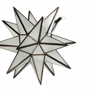 Stjerne lampe i mat glas, 35 cm i dia.