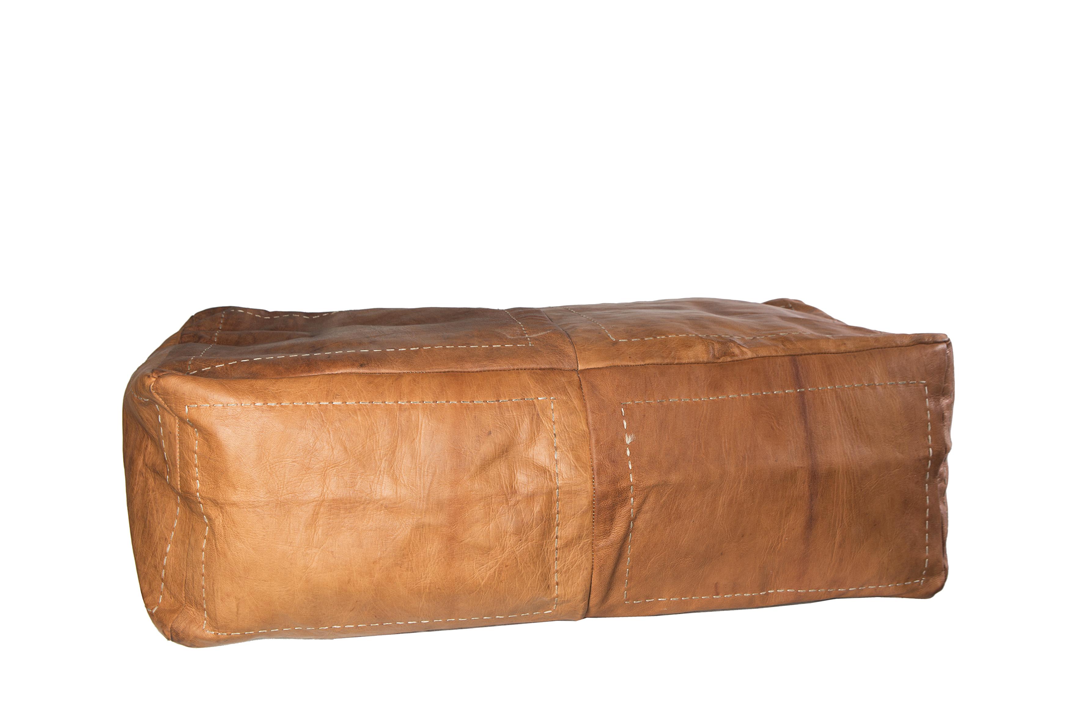 Håndlavet stor marokkansk læderpuf - Brun