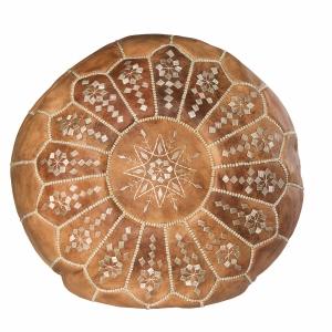 Håndlavet marokkansk læderpuf - Brun