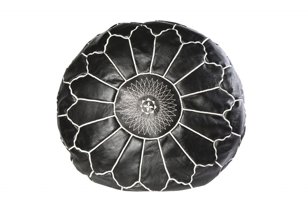 Håndlavet marokkansk læderpuf - Sort, 70 cm i dia.