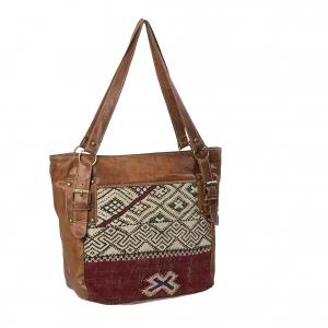 Skulder lædertaske med detalje af kelim