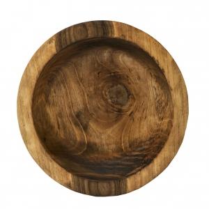 Træfad i smukt olieret nøddetræ, 40 cm i dia.