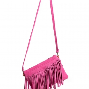 Pink ruskinds clutch med frynser