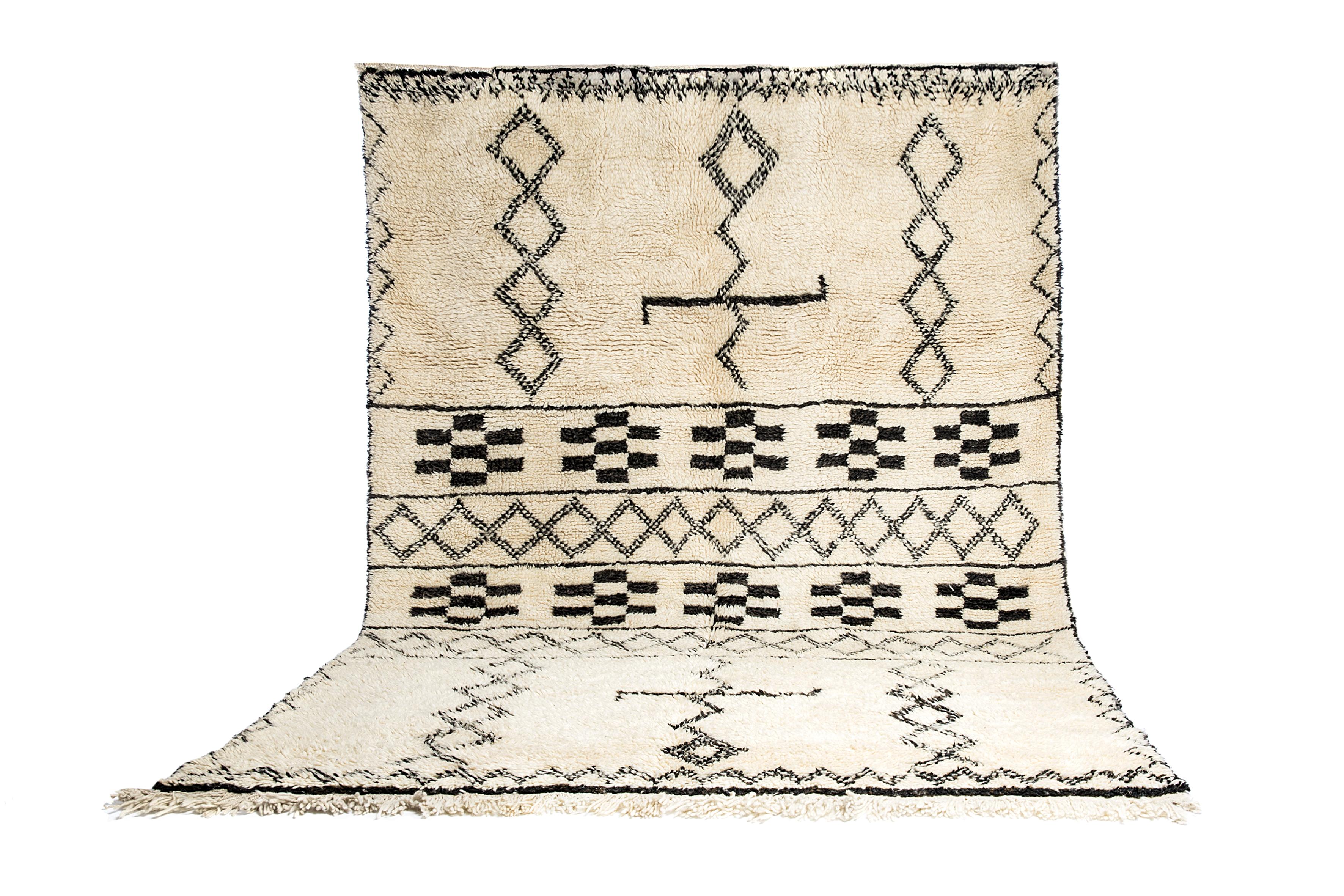 Beni Ouarain - Fantastisk Smukt håndvævet marokkansk tæppe