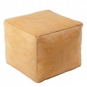 Kvadratisk marokkansk læderpuf - Lys brun