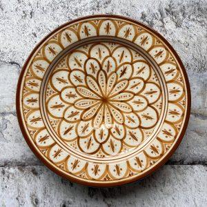 Håndlavet marokkansk keramikfad, 25 cm i dia - Aurora