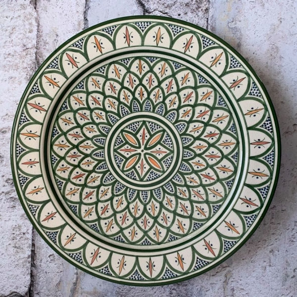 Marokkansk keramikfad 35 cm i dia. - Mynte