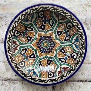 Marokkansk håndlavet keramikfad 30 cm i dia - Elia