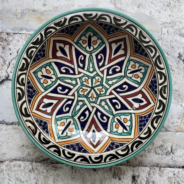 Marokkansk håndlavet keramikfad, 30 cm i dia. - Nola
