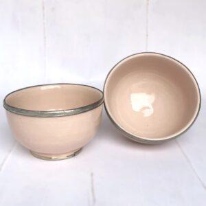 Marokkansk håndlavet keramikskål med metalkant - Safi, Rose