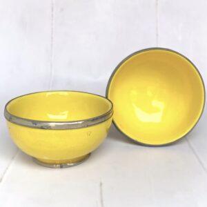 Marokkansk håndlavet keramikskål med metalkant - Safi, Yellow