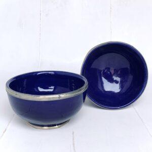 Marokkansk håndlavet keramikskål med metalkant - Safi, Blue