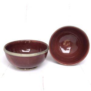 Marokkansk håndlavet keramikskål med metalkant - Safi, Red