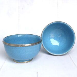 Marokkansk håndlavet keramikskål med metalkant - Safi, Light blue