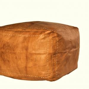 Håndlavet kvadratisk marokkansk læderpuf - Brun
