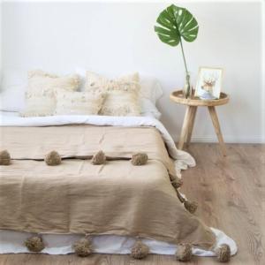 Pompom plaid - Beige, 230 x 250 cm